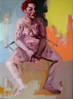 'Femmes assis' work in progress by M. Harrison-Priestman - acrylic on linen, 40 x 30 cm, 2020.