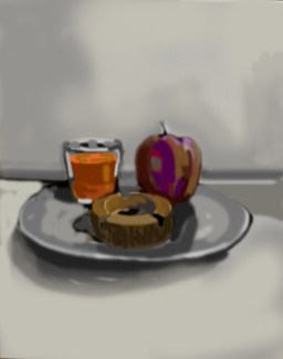 Digital still life painting using my finger on my laptop, by M. Harrison-Priestman - 2021.