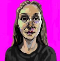 'Étude de tête no:3' digital portrait using my finger on my laptop pad by M. Harrison-Priestman - 2021.