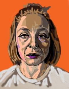 'Étude de tête no:4' digital portrait using my finger on my laptop pad by M. Harrison-Priestman - 2021.