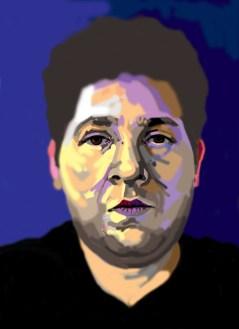 Digital portrait illustration using my finger on my laptop by M. Harrison-Priestman - 2021.
