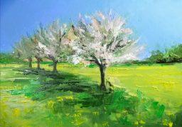'Fleur de pommier de printemps' part of 'This Green and Pleasant Land' series by M. Harrison-Priestman - acrylic on linen, 35 x 50 cm, 2021.