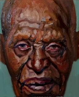 'Portrait de Mr. Wanago Snr' work in progress by M. Harrison-Priestman - 40 x 30 cm, oil on linen, 2021.