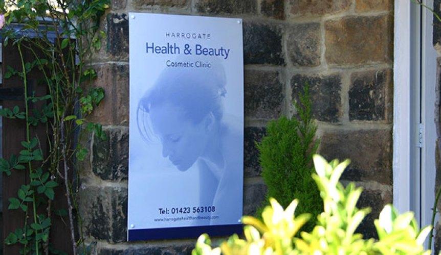 Photo of Harrogate Cosmetic Beauty Clinic entrance sign.