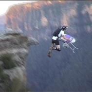 Base jumper doing extreme ironing