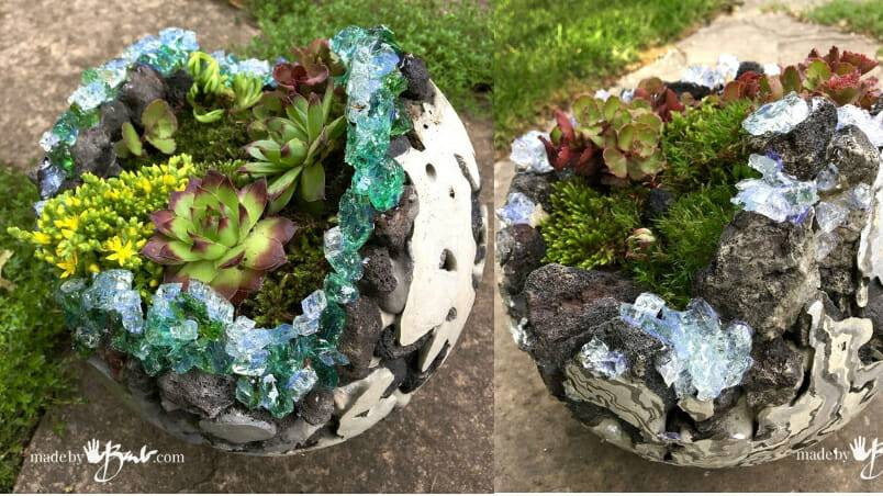 How to Make Rock and Concrete Geode Orb Planters