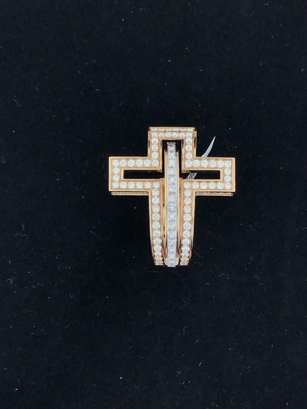 Harry Glinberg Jewelers - Rodger Dubuis Rose Gold Diamond Cross Ring