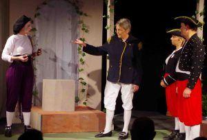 INSTRUCTIONS: Janie Gray in the ACT production of Twelfth Night with members of the cast