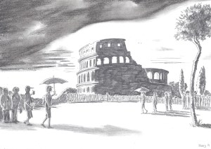 Follow my leader: a view of the Colosseum as tourists are herded along (pic: Harry Mottram)