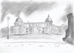 Pencil illustration of the  Santa Maria Maggione in Rome