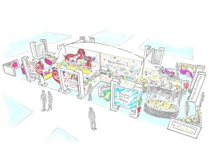 Artist's impression of a trade stand at the Print Show held in October at the NEC