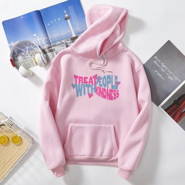 Treat People With Kindness fun pink Hoodie Sweatshirt Streetwear Harajuku Women Clothes