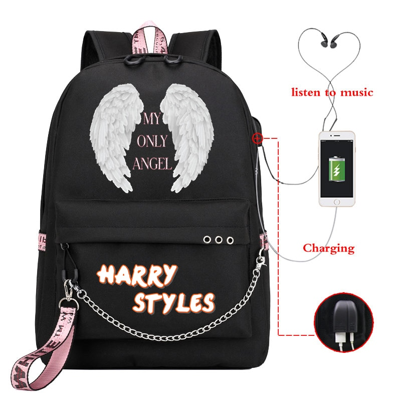 Harry Styles MY ONLY ANGEL Women Backpack Usb Charge Laptop Backpack School Bag for Teenage Girls