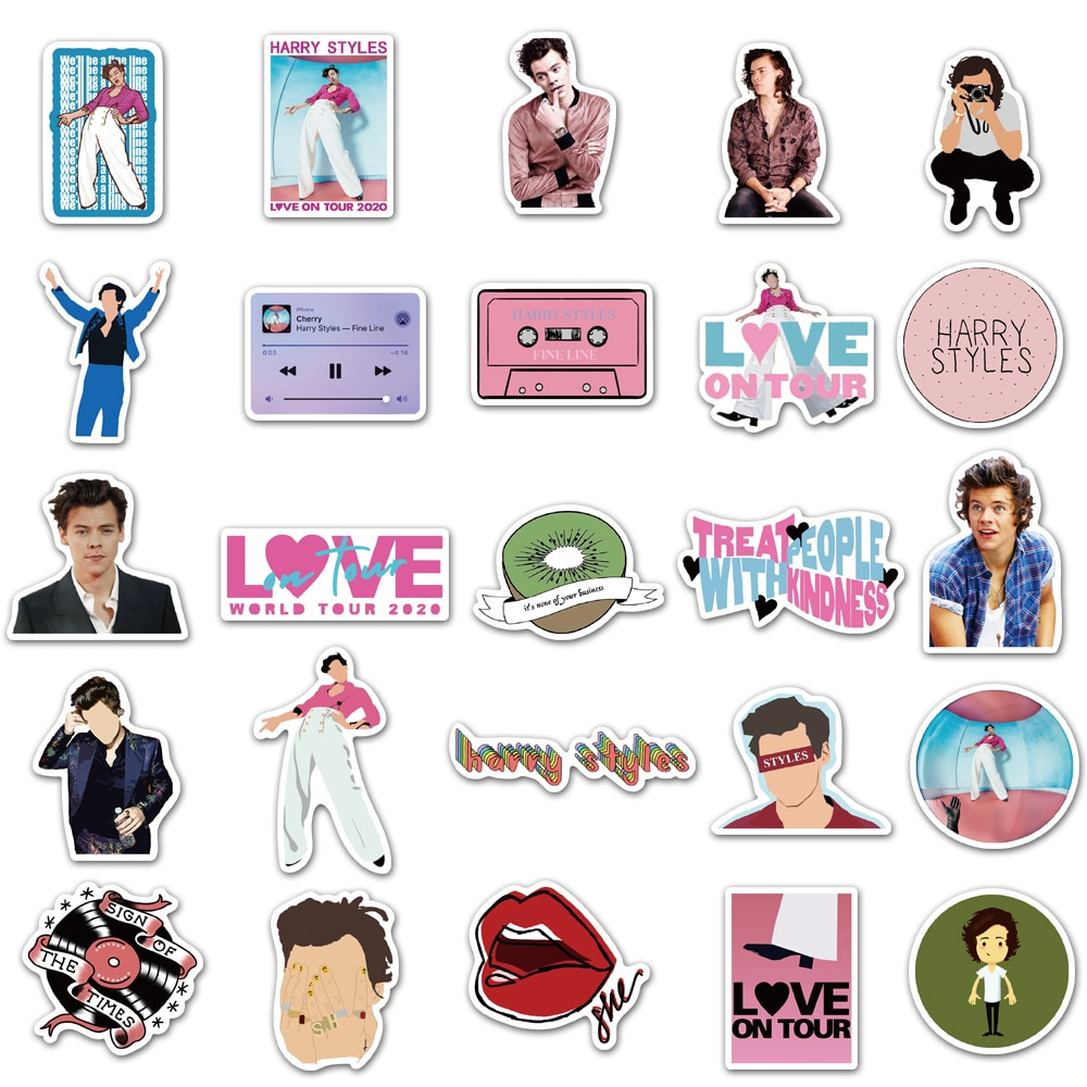 Harry Style Luggage Stickers for Fans Gifts to DIY Laptop Phone Fridge Guitar Water Bottle Decor