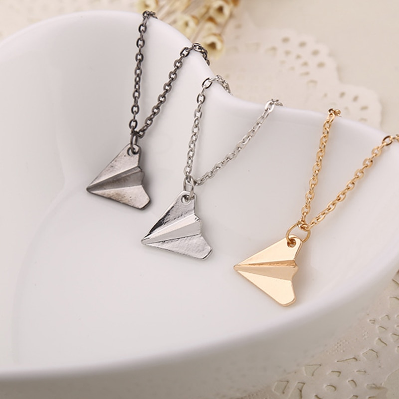 Harry Styles jewelry 3D Origami Plane necklaces black Gold silver plated necklace
