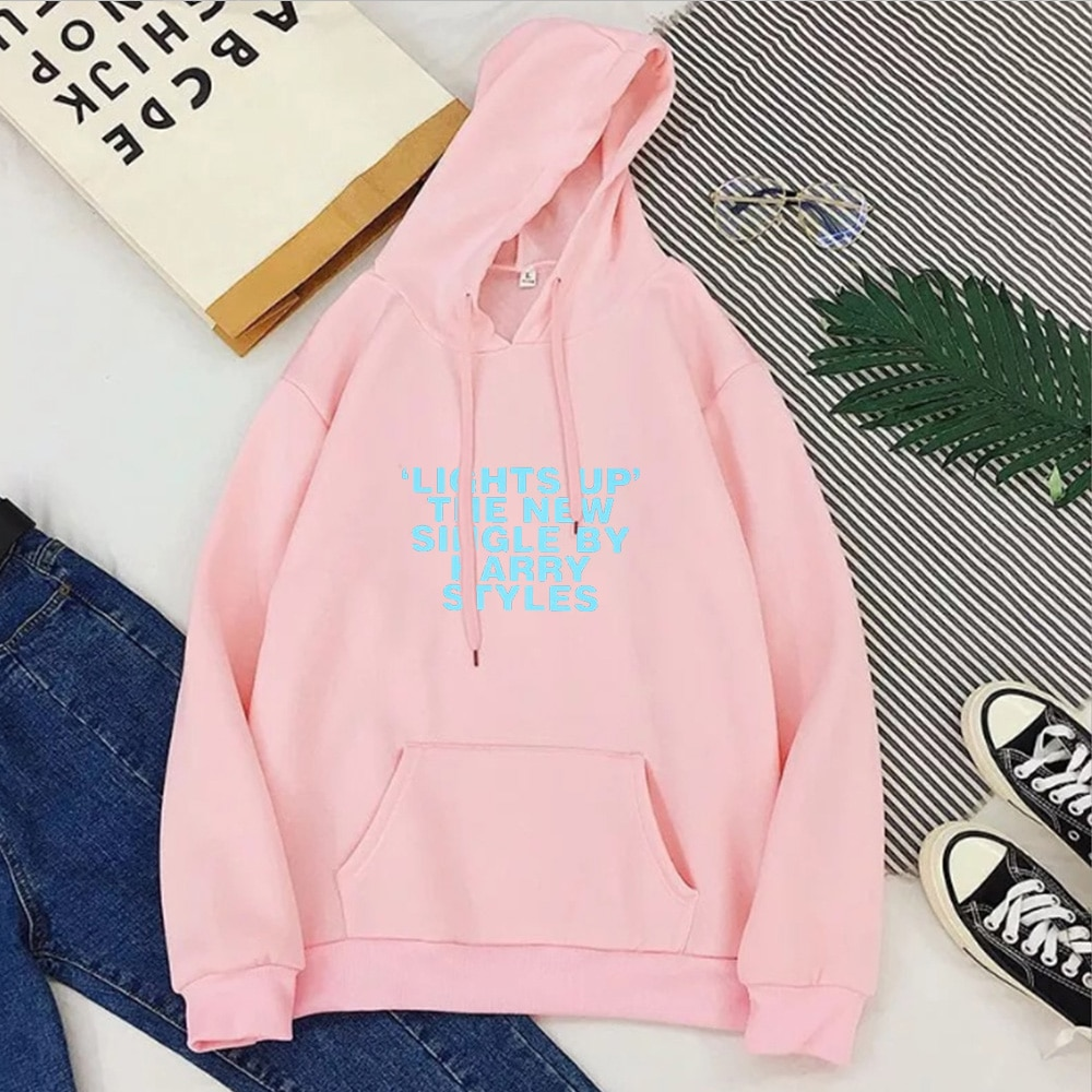 Harry Styles Lights Up Pink Women Casual Print Plus Size Hoodie For Men/Women's
