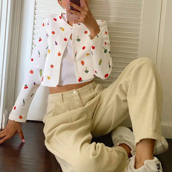 Harry Styles cardigan oversized sweatshirt Female Cute Fruit Printing Autumn Button