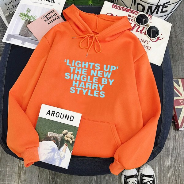 "Harry Styles Hoodies Casual Print ""Lights Up"" Pink Hoodie Women"