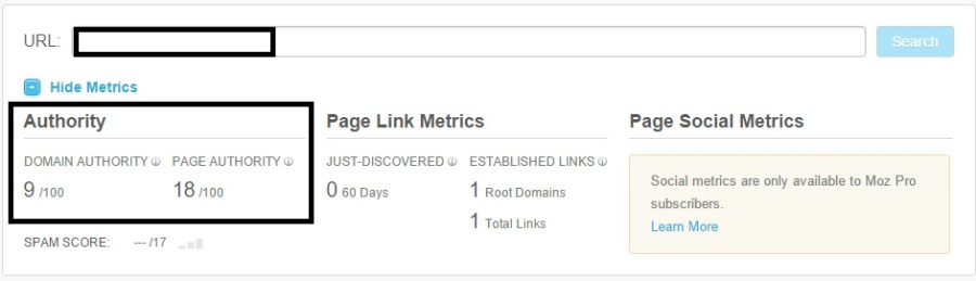 Moz Metrics for AdSense advertising website Harry Vs Internet