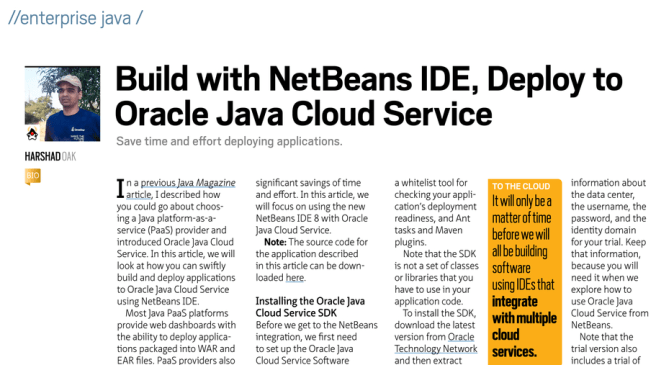 Build with NetBeans IDE, Deploy to Oracle Java Cloud Service