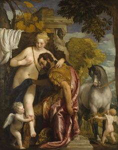 "Mars and Venus United by Love,"" painting by Paolo Veronese, mid-1570s. Public domain."