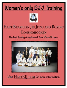 Women's only BJJ training at Hart BJJ, Boxing and MMA in Conshohocken Pa.