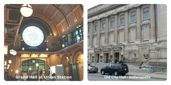 Indianapolis Union Station and City Hall collage