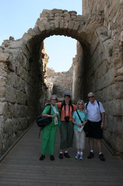 Lillian, Kathy, Sandra and Bob at the ruins in Cesaria.