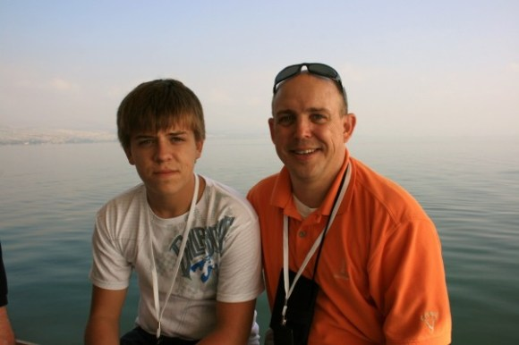 Tyler and Eric Chapman on the Seas of Galilee.
