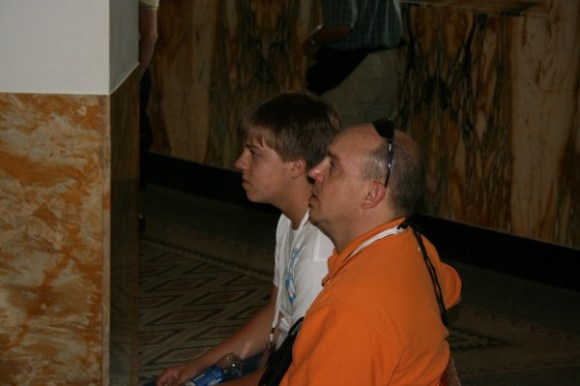 Eric and Tyler Chapman in Chapel of the Multiplication (Tabgha).