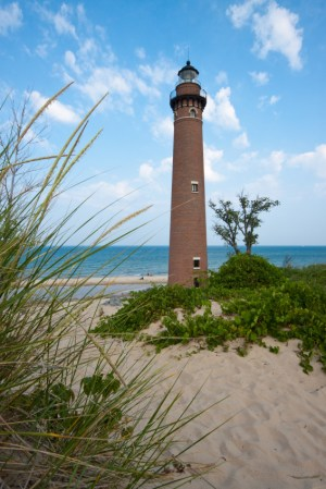 lighthouse on Lake Michigan in Mears