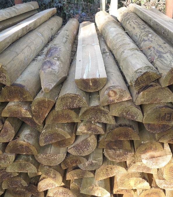 Half round timber