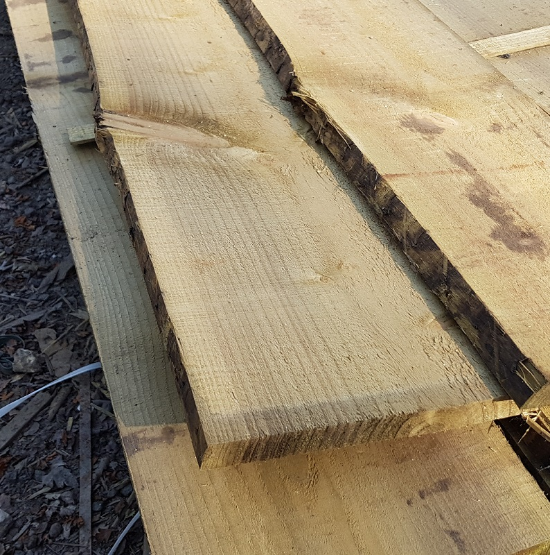 Spruce pressure treated Waney Edge: 3.6m 225 x 22mm approx