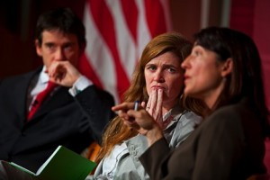 Carr Center Director Rory Stewart (left), the center's founding Executive Director Samantha Power, and its former director Sarah Sewall revisit the Center's first decade.