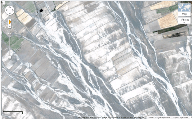 Figure 3. Closer view of ephemeral streams and adjoining bandsar fields from Google Earth