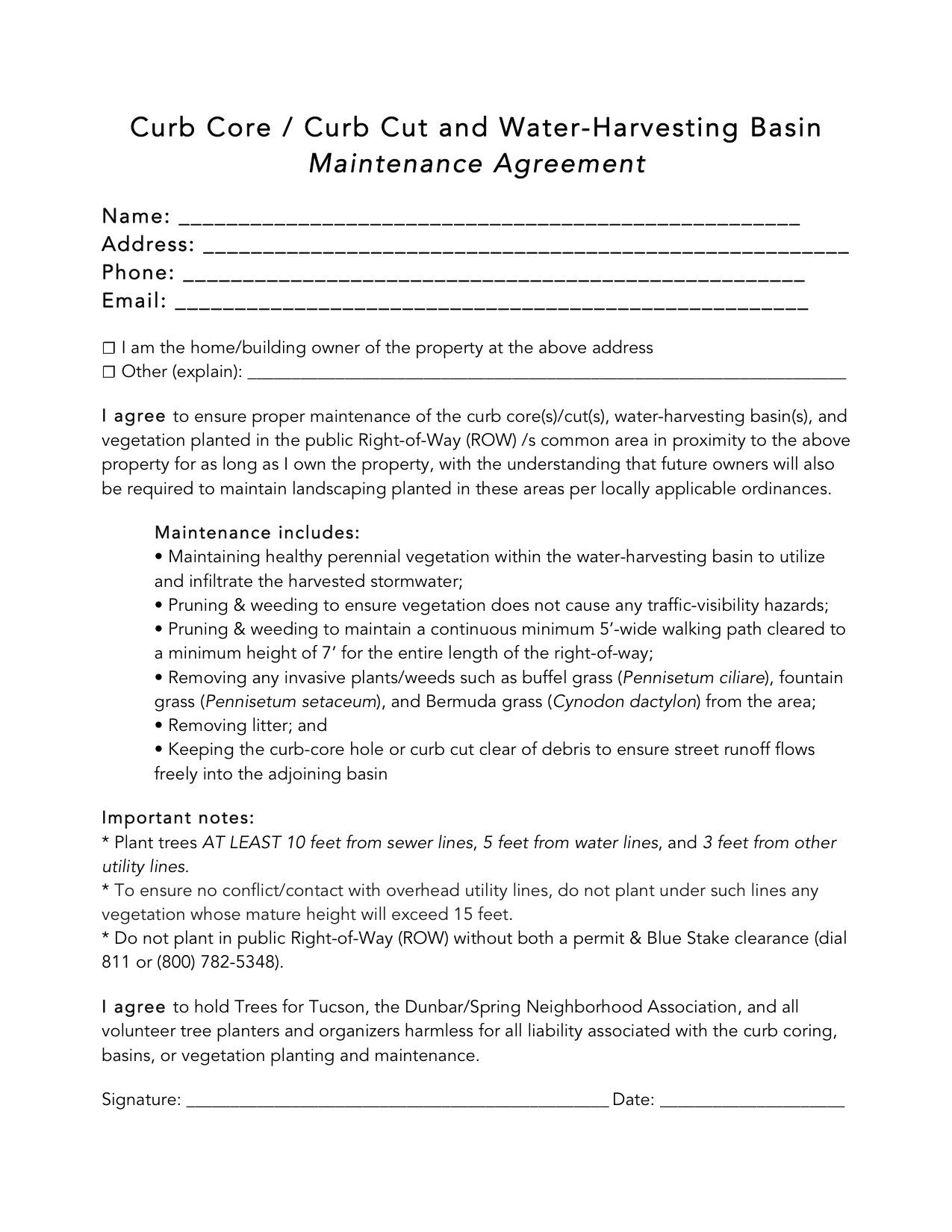 Curb Core / Curb Cut Maintenance Agreement