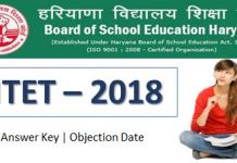 HTET-2018 Answer key | Objection Date