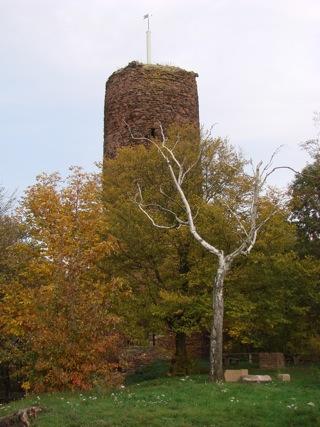 Bild: Der Bergfried der Schweinsburg zu Bornstedt.