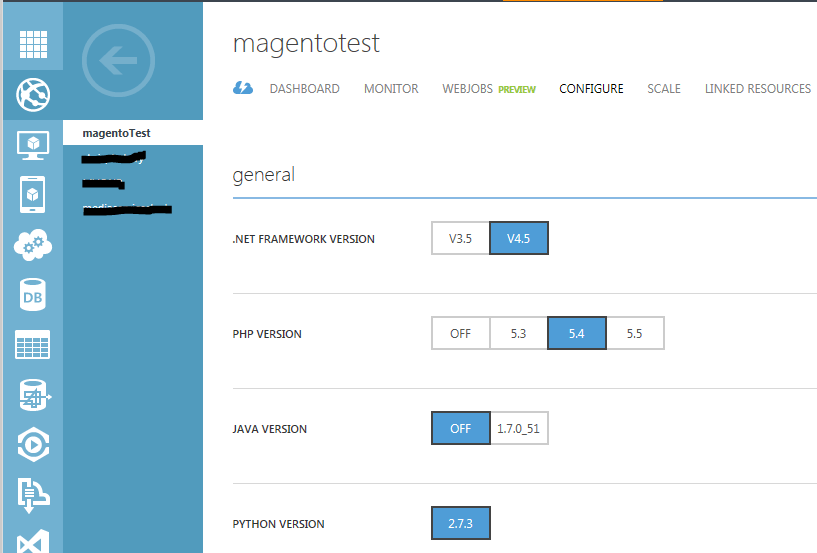 Azure-websites-languages-enabled-by-default