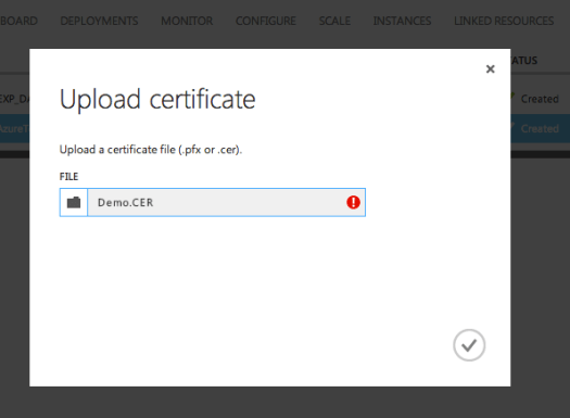 Azure Certificates Upload error 1