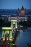 Iconic Hungarian bridge at night