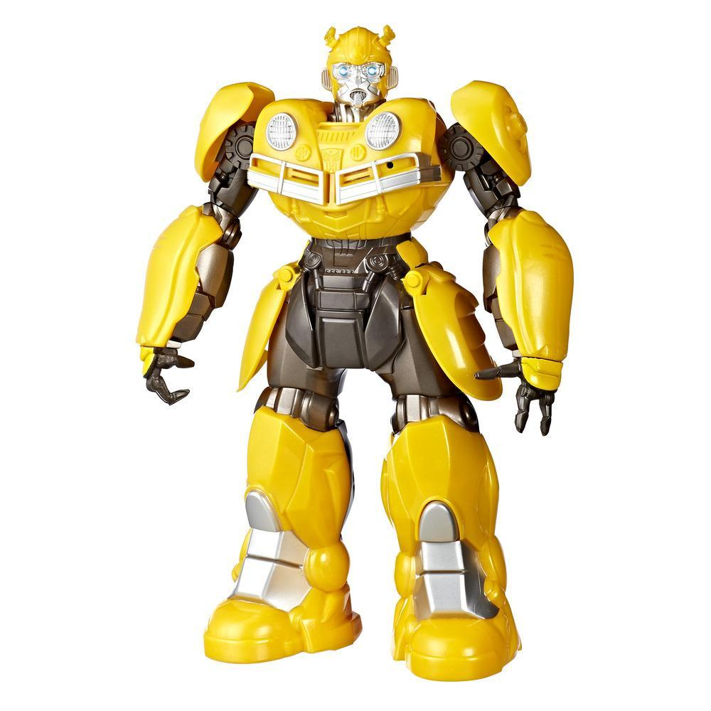 DJ BUMBLEBEE: Imagine collaborating with the bodacious Bumblebee to mix some sick beats with the Transformers: Bumblebee -- DJ Bumblebee figure inspired by the iconic character from the big screen. Using Sing-Back Tech, this figure records kids' voices, and then plays back the soundbite in sync with 1 of 3 awesome music. Kids control the mix -- move the figure's right arm to switch songs and left arm to control the tempo. Figure comes pre-loaded with music clips Walk This Way, originally by Aerosmith, Bust A Move, originally by Young MC, and the Robots in Disguise theme song. The DJ Bumblebee figure also dances to the beat during playback. Product does not convert, but can still mix it up.