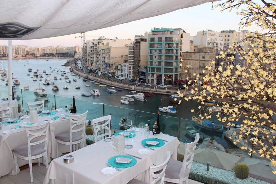 One of the most romantic restaurants for Valentine's Day 2019 on Malta is Dolce Vita in Spinola Bay, St Julians, Malta