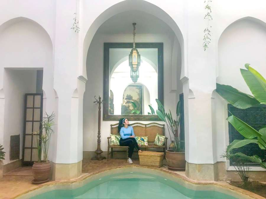 Riad & Spa Demeure Bois Précieux in the heart of the Medina of Marrakech, Morocco has a beautiful swimming pool in the