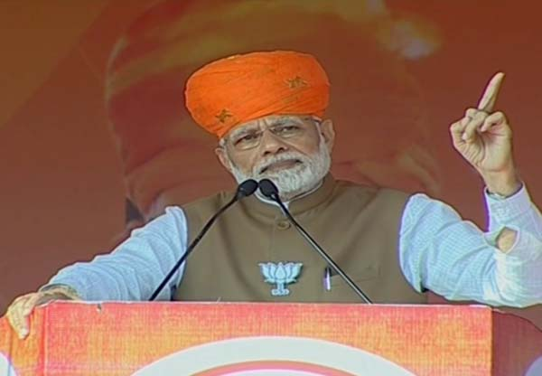 Sikar: Prime Minister and BJP leader Narendra Modi addresses during a public meeting in Rajasthan's Sikar, on Dec 4, 2018. (Photo: IANS)