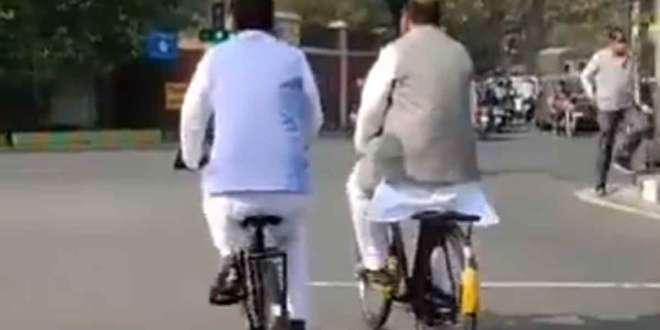 ajay kumar lallu on bicycle