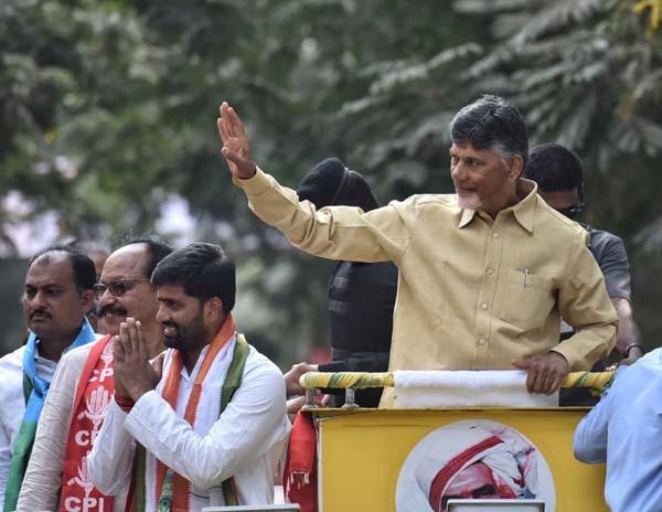 Hyderabad: Andhra Pradesh Chief Minister and TDP supremo N. Chandrababu Naidu during a roadshow in Hyderabad on Dec 3, 2018.