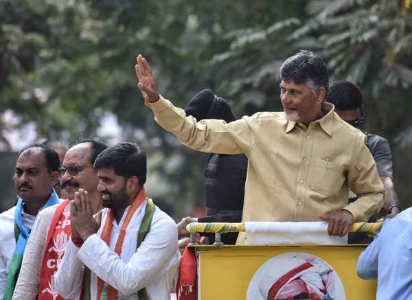 Hyderabad: Andhra Pradesh Chief Minister and TDP supremo N. Chandrababu Naidu during a roadshow in Hyderabad on Dec 3, 2018.