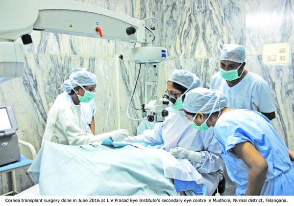 Cornea transplant surgery done in June 2016 at L V Prasad Eye Institute's secondary eye centre in Mudhole, Nirmal district, Telangana.