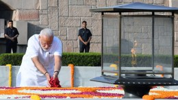 The Prime Minister, Shri Narendra Modi paying floral tributes at the Samadhi of Mahatma Gandhi, at Rajghat, in Delhi on May 30, 2019.